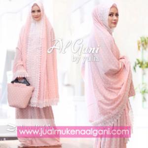 mukena al gani zhafira polkadot pink