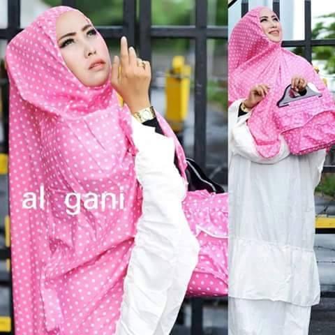 mukena polka pink