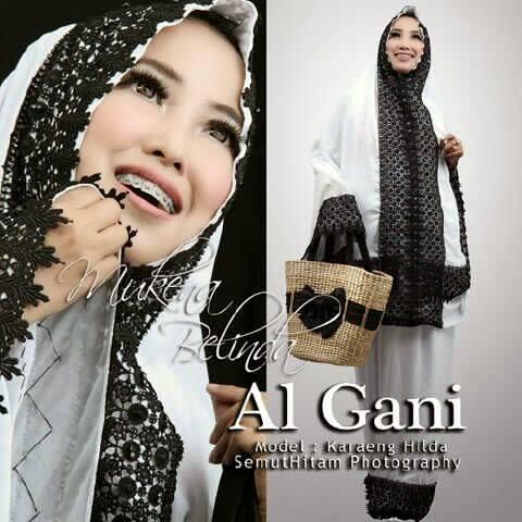 Mukena Al Gani Belinda Putih Renda Hitam