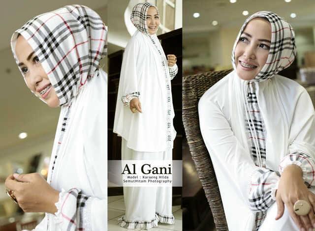 Mukena Al Gani Blueberry Putih